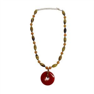 GSJ Glass Bead 925 Sterling Silver Necklace